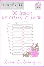 Printable 100 Reasons Why I Love You Thank You Mom Quotes Mothers