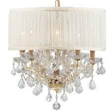 crystorama bwood 6 light crystal gold drum shade mini chandelier i