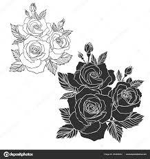 Kvetoucí Růže Izolované černobílý Design S Nabídková Růže Design