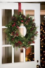 How To Hang Lighted Wreath On Door Faux Pine Pre Lit Outdoor Christmas Wreath Gardeners Com