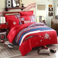 soccer bed set plaid red embroidery comforter quilt bedding sets king queen size champions soccer bedspreads style duvet