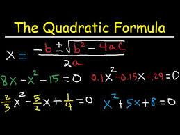 how to use the quadratic formula to