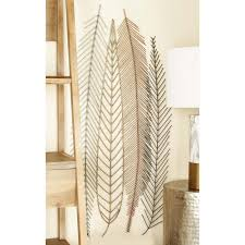 iron wire feather and leaf wall decor