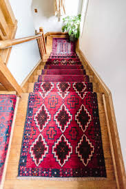 mix matched patterns diy stair runner made with vintage rugs wit delight