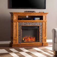 simulated stone media center electric fireplace tv stand in faux black river