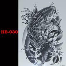 черная рыба временные Tatto водонепроницаемый мужчины женщины