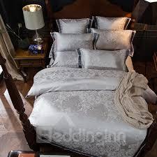 bedding sets 57 fl and geometric jacquard pattern grey
