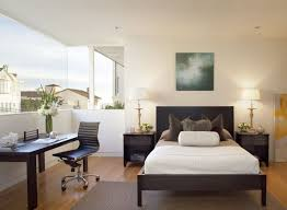 office in bedroom. Plain Bedroom Neat Home Office In Guest Bedroom Design With Open View Through Large Window On Office In Bedroom