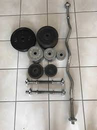 58 5kg cast iron weight set with golds gym spinlock curl bar