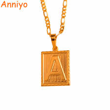 anniyo a z square letters necklace gold color initial pendant chain for men women english letter jewelry gifts 104006