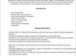 Resume Templates Heavy Equipment Operator Resume Samples Kairo