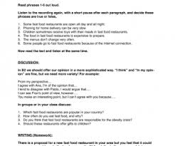 food worksheets fast food listening discussion and writing level b2 ise