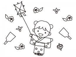 お正月遊びをする女の子のぬりえ線画イラスト素材 イラスト無料