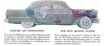 air conditioning unit for car. in 1954, the number of companies offering factory air expanded. not wanting to be left behind luxury car game, packard offered their first system conditioning unit for s
