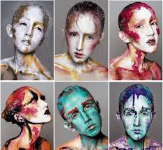 i have previously done a photoshoot similar to this using non toxic poster paints the shoot and makeup had a very abstract feel to it
