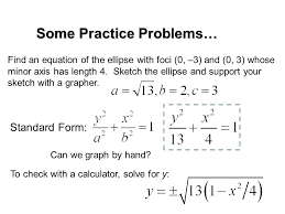 find equation of ellipse given foci and vertices calculator