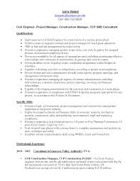 Sample Resume Civil Engineer Project Manager Resume For Study