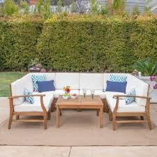 wood outdoor sectional. Perla Outdoor Acacia Wood 9-piece Sectional Sofa Set With Cushions By Christopher Knight Home