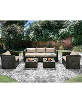 furniture of america stella 5 piece outdoor sofa set brown cushions size brown set patio source outdoor