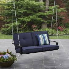mainstays 2 seat outdoor porch swing chair loveseat with navy blue cushions