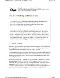 Mla Source Page Mla Formatting And Style Guide The Ravenna School District