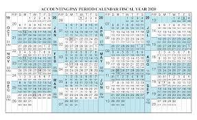 Payroll Calendar 2020 Fiscal Year Calendar Oct 2019 Sep