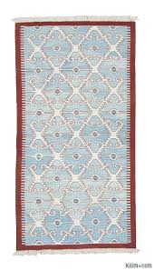 light blue new turkish kilim runner rug
