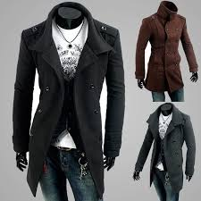 fashion new men casual shoulder strap double ted trench long coat lapel slim fit trench coats unique men s clothing men trench coats with