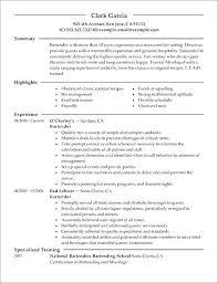 Bartending Resume Template Magnificent Server And Bartender Resume Sapphirepartners