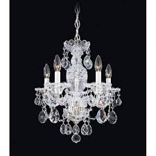 sterling silver five light clear heritage handcut crystal chandelier 16w x 18h x 16d