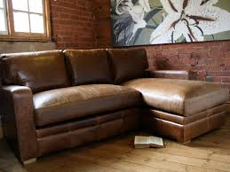 classical brown genuine leather sleeper couch