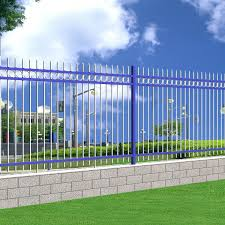 Blue Fence Designs China Outdoor Galvanized Steel Pipe Fence Garden Metal Fence