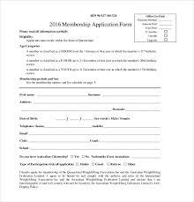 Club Membership Form Template Social Club Membership Application Template Dlking