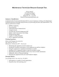 Resume Maintenance Manager Resume