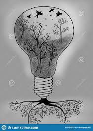 Light Bulb With Tree Inside Light Bulb With Tree Inside Stock Illustration