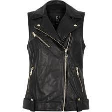 river island black leather biker jacket in black lyst