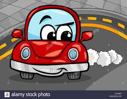 Witzige Retro Auto Cartoon Illustration Stockfoto Bild 103062900