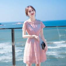 Very fairy little <b>dress</b> ins summer chic <b>temperament pink</b> fairy lace ...