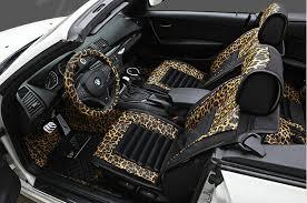 name fashion leopard print female universal car seat cushion pu leather flocking 10pcs set golden