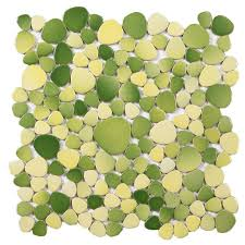 pebble porcelain tiles bathroom flooring wall decor green yellow mosaic mirror tile backsplash p60 jpg
