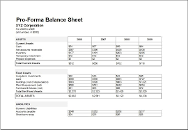 Pro Forma Example Proforma Balance Sheet Template For Excel Excel Templates