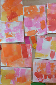 children use crepe paper streamers and water to transfer the color onto paper and make these