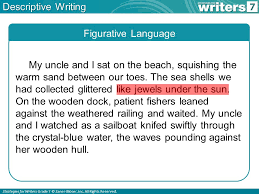what is descriptive writing ppt  7 descriptive writing figurative