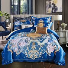 luxury royal blue and gold indian tribal pattern native american bohemian style unique egyptian cotton full queen size bedding sets
