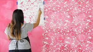 Painting a Pink Flower Wallpaper Design ...