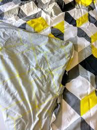 geometric print king size duvet cover set yellow black