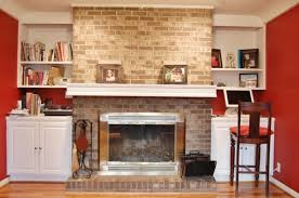 rumford fireplace with bricked mantel kit plus shelves matched with wooden floor plus sofa set for
