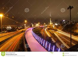 Night Light Auckland Nelson Street Cycleway Auckland City Stock Image Image Of