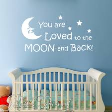 you are loved to the moon and back  on vinyl wall art quotes for nursery with removable vinyl wall window quotes sayings for baby nursery