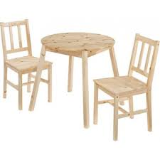 prague round top dining set 2 chairs angled legs knotty pine effect